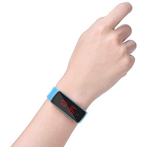 FECAMOS Reloj Digital, Reloj de Pulsera Deportivo Modo de Ahorro de energía para Movimiento(Light Blue)