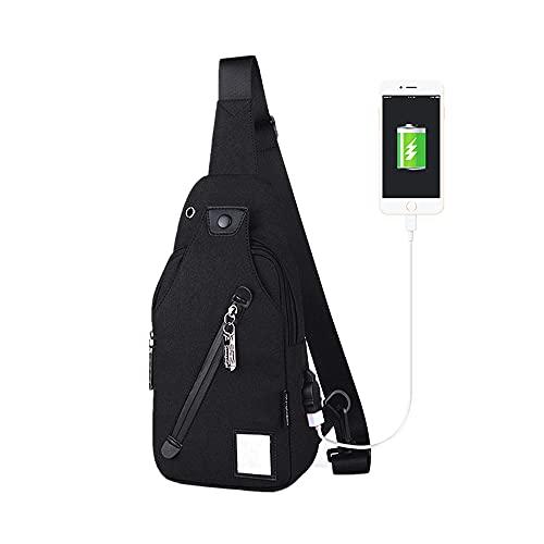 FIRECLUB 13 Inch USB Charging Men Shoulder Bag Messenger Waterproof Sling Chest Pack Travel Backpack Crossbody Bags (Black)