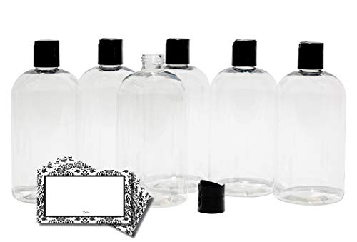 BAIRE BOTTLES - 8 OZ CLEAR PLASTIC REFILLABLE BOTTLES with BLACK HAND-PRESS...