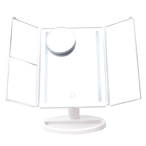 lifecolor Makeup Vanity Mirror with Lights, Trifold Mirror with 2x/3x/10x Magnification 4 Panels and USB Charging/Battery Operated, 180-Degree Adjustable Stand Countertop, White