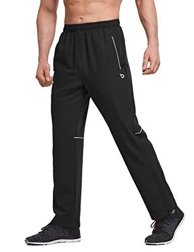 BALEAF Men's Woven Running Pants Quick Dry UPF 50+ Workout Training Pants Water Repellent Zip Leg BlackM