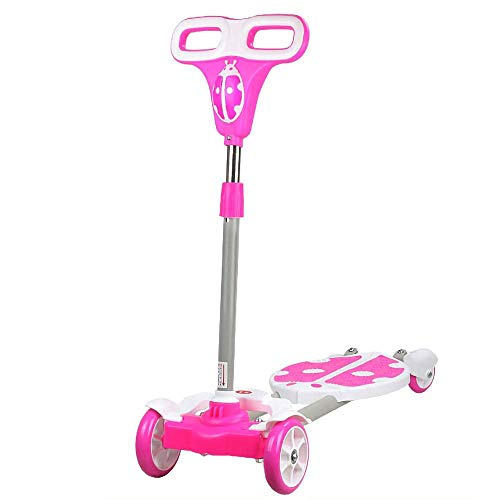 Save %38 Now! CYGJ Stainless Steel Scooter for Girls with 4 LED Wheels,Pink Foldable Little Tike Sco...