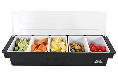 Fruit, Veggie & Condiment Caddy with Lid - Dispenser Tray For Candy, Dips & Salad Toppings | Bar Supplies For Catering & Parties | 5 x 20 Oz Compartments | Garnish Organizer Station for Restaurants