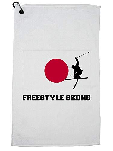 Hollywood Thread Japan Olympisch - Vrije stijl skiën - Vlag - Silhouette Golf Handdoek met Karabijnhaak Clip