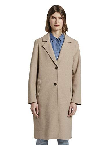 TOM TAILOR Damen Jacken Langer Mantel mit Seitenschlitzen Powder beige Melange,XXXL,24051,8448