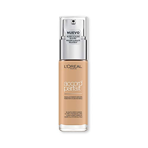 l'Oréal Paris Fondotinta Fluido Coprente Accord Parfait, Risultato Naturale, No Effetto Maschera, 3.5N Pêche each