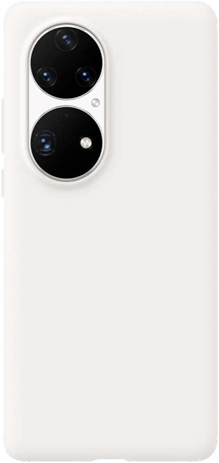 غطاء هاتف خلفي من السيليكون السائل , لهاتف Huawei P50 Pro (2021) جراب نحيف مقاوم للصدمات 6.6 بوصة متوافق مع تقنية الشحن اللاسلكي ,ابيض