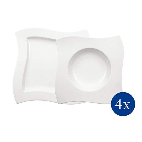 Villeroy & Boch NewWave Dinnerset / quadratische Suppenteller und Speiseteller in geschwungener Form aus edlem Porzellan / 1 x Set (8-teilig)