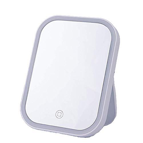 luckyW El Espejo no se deforma Fácil de Limpiar Espejo de Maquillaje LED Espejo de Maquillaje de Alta definición Interruptor táctil Escritorio portátil Plegable