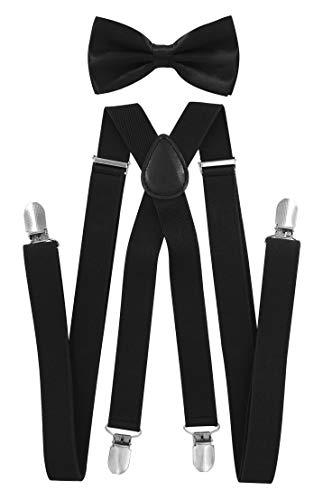axy Hochwertige Herren Hosenträger mit Fliege - 4 Starken Clips X-Form (Schwarz (Hosenträger Breit 2,5cm))