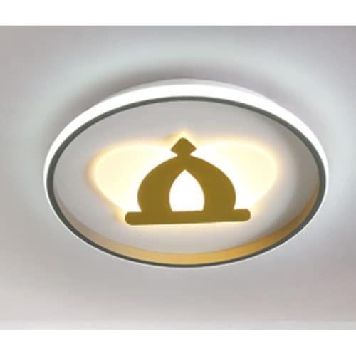 Led Lámpara De Techo Regulable Sala De Estar,Plafón De Techo Dormitorio,Iluminación De Techo Corredor,Gris + Dorado 400 * 50Mm-40W Luz Cálida Luz De Cocina De Corona Moderna Simple