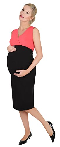 Be! Mama 2in1 Wende-Kleid, Umstandskleid, Stillkleid, Modell: DOUBLE, schwarz-koralle