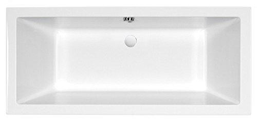 AQUADE extra starke Badewanne 8mm Acryl-Badewanne Wanne Acrylwanne Rechteckwanne Weiß mit LED-Beleuchtung 190cm x 90cm x 55cm Modell: Ulm 190x90 + LED