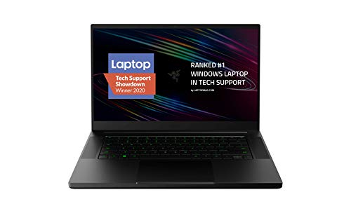 "Razer Blade 15 Base Gaming Laptop 2020: Intel Core i7-10750H 6 Core, NVIDIA GeForce RTX 2070 Max-Q, 15.6"" FHD 1080p 144Hz, 16GB RAM, 512GB SSD, CNC Aluminum, Chroma RGB Lighting, Thunderbolt 3, Black"