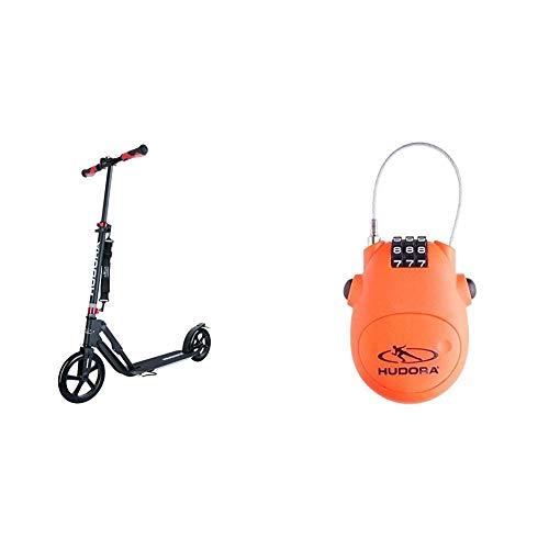 HUDORA 14235 BigWheel Style 230-Tret-Roller klappbar-Big Wheel City-Scooter, schwarz & Kabel-Schloss Fahrrad Scooter, Zahlenschloss, 14492