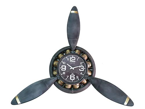 DynaSun Art Helix 118 x 24 x 134 cm Reloj con Forma de hélice de Pared de Metal Vintage Estilo Retro decoración casa salón Cocina Efecto Envejecido