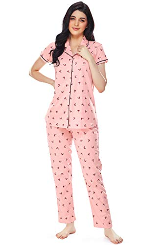 ZEYO Women's Cotton Floral Printed Peach Night Suit Set of...