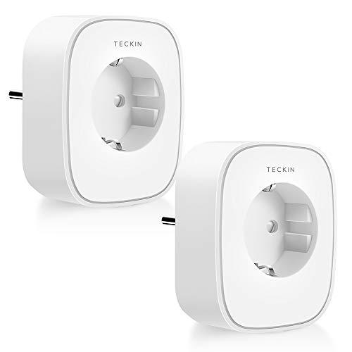Prise Connectée Intelligente WIFI TECKIN fonctionne avec Alexa et Google Home Télécommandable et Programmable Fonctionne de minuterie et l'horaire Surveiller la consommation d'énergie