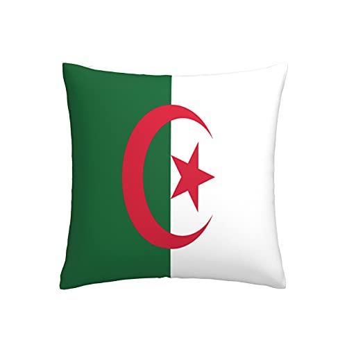 Kissenbezug mit Flagge von Algerien, quadratisch, dekorativer Kissenbezug für Sofa, Couch, Zuhause, Schlafzimmer, drinnen & draußen, niedlicher Kissenbezug 45,7 x 45,7 cm