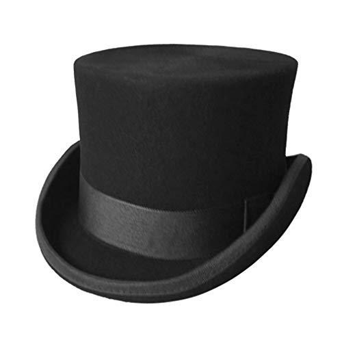 GEMVIE Men's 100% Wool Top Hat Satin Lined Party Dress Hats Derby Black Hat, US Hat Size 7 - 7 1/8
