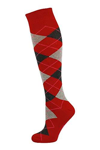 Mysocks Unisex Kniestrümpfe Argyle Socken Rot mit Asche & Anthrazit