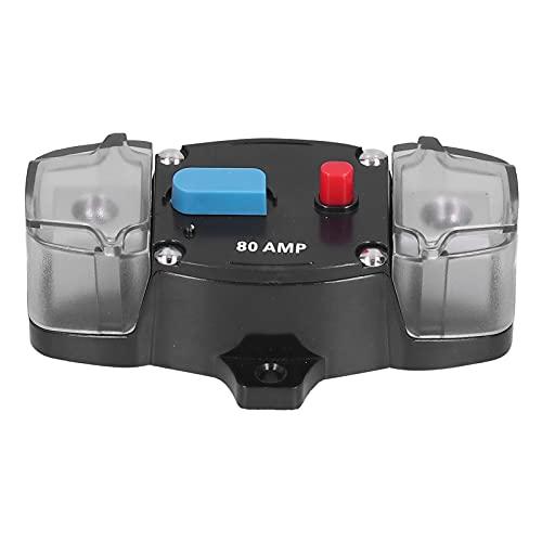 Disyuntor de coche, disyuntor automático, reinicio de fusibles, protección contra sobrecarga de 80 A, compatible con sistemas de vídeo y audio para vehículos y marinos