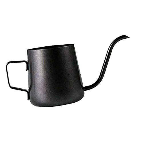 Molinter Kaffeekessel Kaffeekannen Schwanenhals Edelstahl Wasserkocher Teekanne für präzises Ausgießen (240ML, Schwarz)