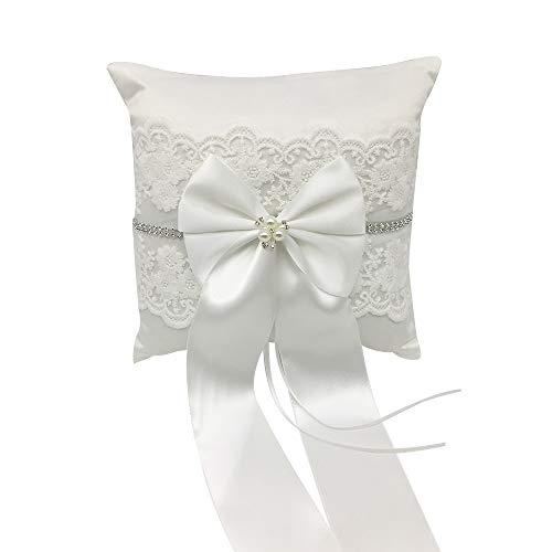 Decdeal Hochzeitsring Kissen Ringkissen Hochzeit Ehering Vintage Weiche Satinschleife Kunstperlen für Hochzeiten 20 * 20 cm