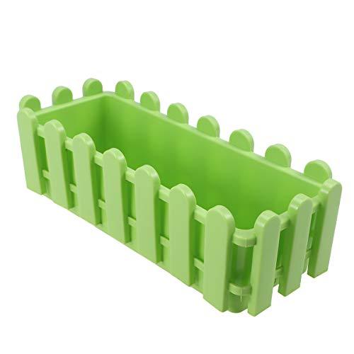 Yardwe Vaso da Fiori in plastica Rettangolare vasi di plastica per Piante Forma di Recinzione fioriera da Giardino per Bonsai Decorazione casa 23 x 9X 7.5 cm (Verde)