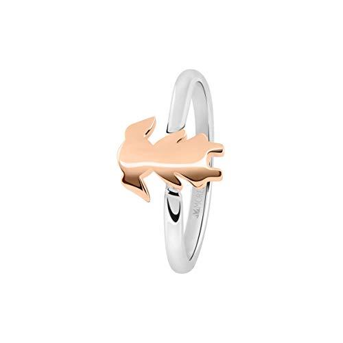 Morellato Anello da donna, Collezione Love Rings, in acciaio, PVD oro rosa e cristalli - SNA43016