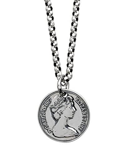 RXSHOUSH Collar con colgante de moneda redonda de plata 925 con varias cadenas de plata para niños y niñas, hijo, novio, collares de regalo de 25 mm - 49 pulgadas