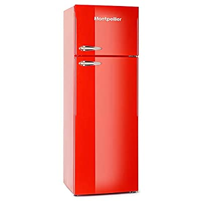 Montpellier MAB345R Retro Top Mount Freestanding Fridge Freezer - Red
