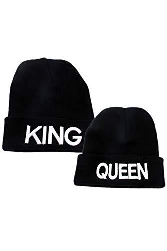King Queen Pareja Mujeres Hombres Regalo Suéter De Punto Sombrero Diario Mantener Caliente Chapeau Blanco One...