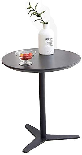 Coffee Table FHW Side Table Nightstand Corner Table European Fashion Living Room Sofa Side A Few Plastic Circular Balcony Mobile (Color : Black, Size : 60 * 65cm)