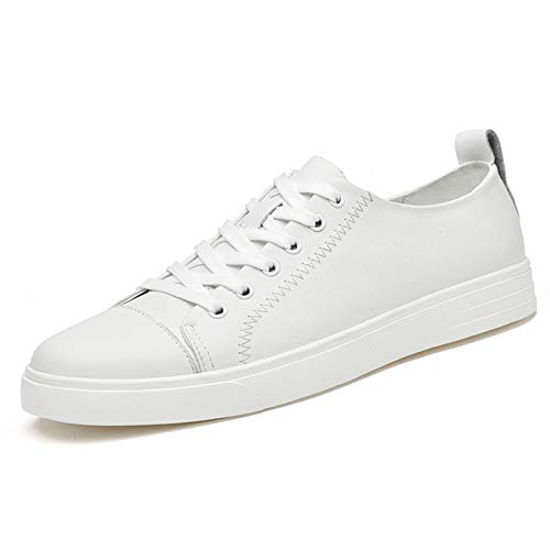 Ys-s Maßgeschneidert Mode Sneaker für Männer Echtes Leder Lace Up Pull Tap Now Top Cap Gymnastic Bout Toe Schuhe Nähen Festfarbe rutschfest Bequem und leicht (Color : White, Size : 40 EU)