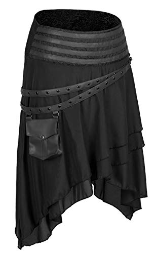 Alivila.Y Fashion Womens Steampunk Gothic Skirt Pirate Skirts 31710-Black-XL
