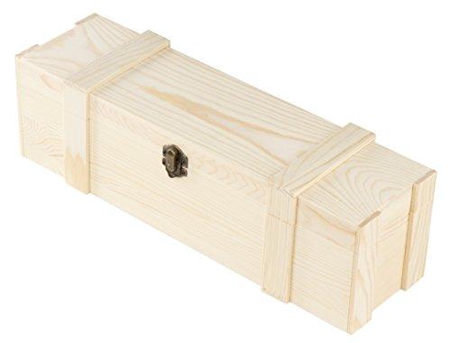 Juvale Scatola di vino in legno – singola bottiglia di vino in legno scatola regalo con chiusura a cerniera per feste di compleanno, matrimonio (13,82 x 3,98 x 3,94 pollici)