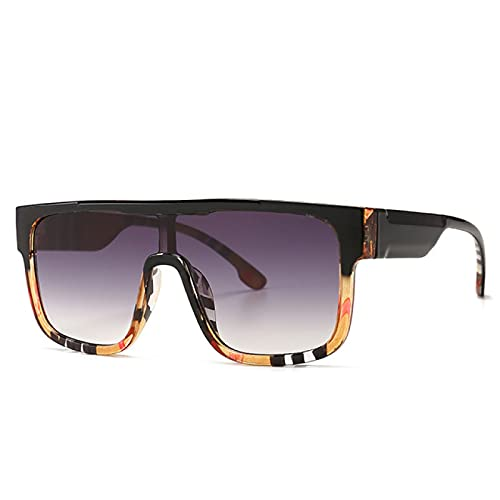 Aiong Gafas de Sol, Gafas de Sol cuadradas de Gran tamaño, Gafas de Sol con Montura de Rayas y Lentes de una Pieza con Parte Superior Plana Vintage para Mujer