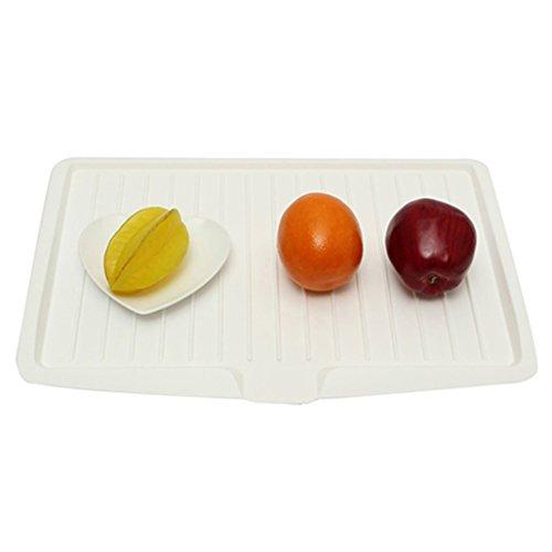 Égouttoir à vaisselle en plastique pour évier Égouttoir de séchage pour plats Plateau de tri pour les fruits, légumes et plats, Plastique, blanc, Taille M