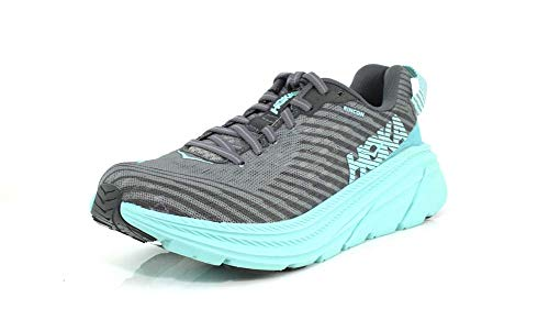 HOKA ONE ONE Womens Rincon Charcoal Gray/Aqua Sky Running Shoe - 8