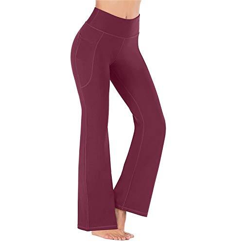 Bumen Pantalones de Yoga guiados para Mujeres Ejercicio de Control Abdominal Pantalones de Yoga de Muslo con Bolsillos Pantalones Largos Acampanados Largos