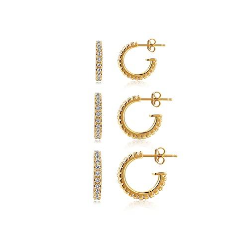 Pendientes de oro para mujer y hombre, 3 pares de pendientes de aro pequeños con circonita (8 mm/10 mm/12 mm)   Cumpleaños, San Valentín, Navidad