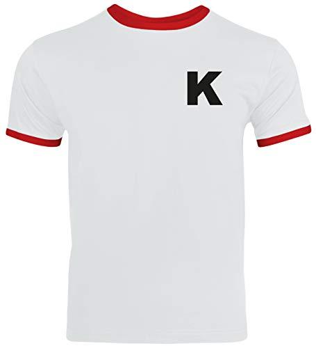 Kickers Anime Trikot T-Shirt Herren Ringer T-Shirt Karneval & Fasching Coole Verkleidung Weiß/Rot // XXL