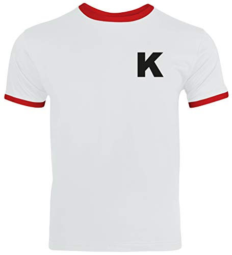 Kickers Anime Trikot T-Shirt Herren Ringer T-Shirt Karneval & Fasching Coole Verkleidung Weiß/Rot // L