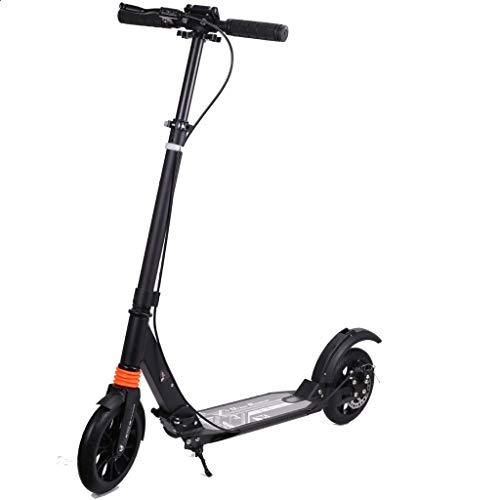 GTYMFH Scooter de pie Plegable for Adultos Big Wheel Scooter - Ligera Cercanías Kick Scooter, Ajustable en Altura los 89CM el 108CM-no eléctricos, Scooter de Ciudad (Color : Black)