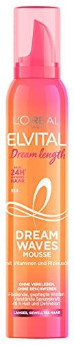 L'Oréal Paris Elvital Schaumfestiger für Locken und Wellen, Pflegender Haarschaum für langes, gewelltes Haar, 24h Duft, Mit Vitaminen und Rizinusöl, Dream Waves Mousse, 1 x 200 ml
