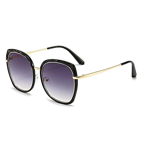Gosunfly Sonnenbrillen Europäische und amerikanische Sonnenbrillen Freizeit-Schattierungsbrillen-Foto Color_Black Box doppelte graue Folie