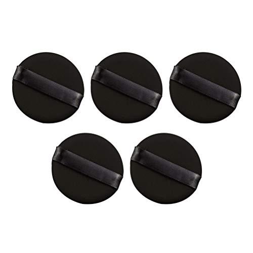 Lurrose Houppette de Poudre Douce Ronde Noire Accessoire pour Cosmétique Maquillage 5PCS