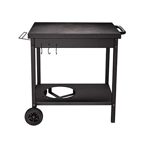 ACTIVA Mesa de barbacoa con ruedas para asar plancha y asar, 73 x 55 x 77 cm (largo x ancho x alto). Mesa auxiliar de metal con gran superficie de apoyo, carrito para asar, cocina al aire libre
