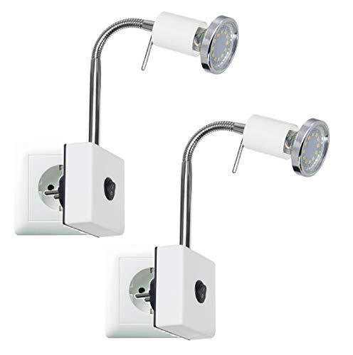 Trango 2er Pack LED Steckerleuchte Nachtlicht Küchen Steckerlicht TG2607W/2 in Weiß incl. je 1x 3000K warmweiß LED Leuchtmittel & ON/OFF Schalter Wandlampe, Küchen Steckerlampe